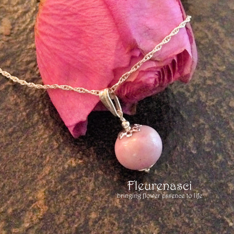 1N-IS-PC Sterling Silver Necklace with One Flower Petal Bead