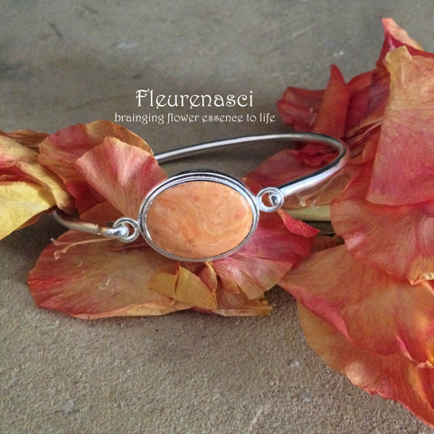 39BR Silver Clasp Bangle Bracelet w/Oval Bezel Flower Bead ~ Custom Order Item ~ Order Form Required