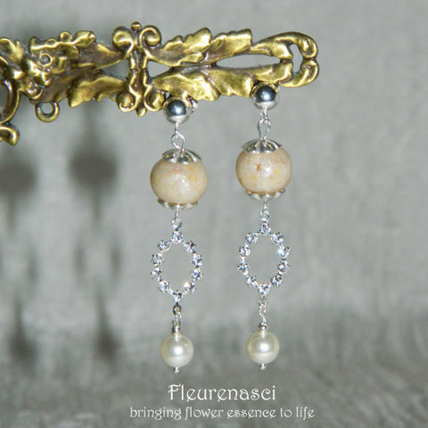 10ER Flower Petal Bead Earrings w/Swarovski Crystal Circle ~ Custom Order ~ Order Form Required