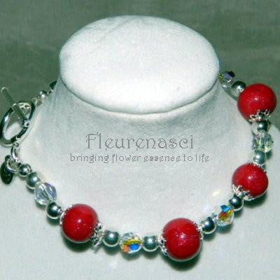 8BR-C Sterling Silver Bracelet with Five Flower Essence Beads ~ Custom Order ~ Order Form Required
