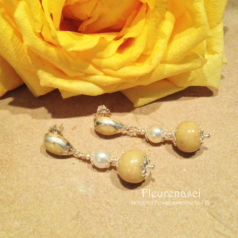 21ER-IS-YR Flower Petal Earrings with Swarovski Pearls & Sterling Silver Bezel Posts
