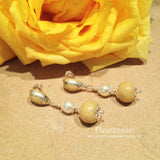 21ER Flower Petal Earrings with Swarovski Pearls & Sterling Silver Bezel Posts ~ Custom Order ~ Order Form Required