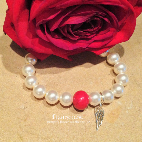 23BR-AW Flower Petal Bead Stretch Bracelet with Sterling Silver Angel Wing ~ Custom Order ~ Order Form Required