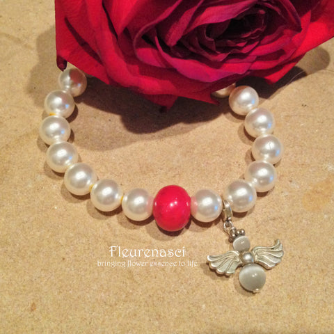 23BR Swarovski Pearl Stretch Bracelet with Guardian Angel Charm ~ Custom Order ~ Order Form Required