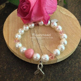 24BR-IS-PC Swarovski Pearl Stretch Bracelet with Awareness Charm ~ In Stock Item
