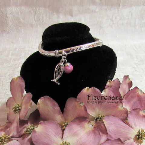 42BR-IS-DG Flower Petal Bead Inspirational Philippians 4:13 Bracelet w/Silver Fish Charm