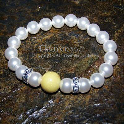 22BR Swarovski Pearl Stretch Bracelet with One Flower Essence Bead ~ Custom Order ~ Order Form Required