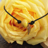 31BR-IS-LW Flower Bead Leather Bracelet with Angel Wing Charm ~ In Stock Item