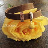 34BR-2BR-IS-YR Flower Bead Arizona Leather Wrap Bracelet with Faith Charm