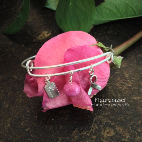 37BR-A Matte Silver Adjustable Bangle Bracelet w/Awareness Charm ~ Custom Order Item ~ Order Form Required
