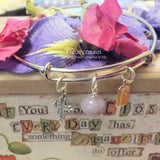 37BR-CC Adjustable Bangle Bracelet w/Sterling Silver Cross ~ Custom Order Item ~ Order Form Required