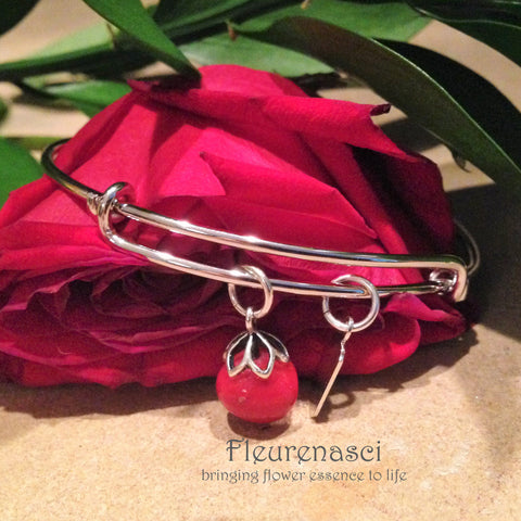37BR Silver Adjustable Bangle Bracelet w/Flower Bead ~ Custom Order Item ~ Order Form Required