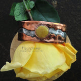 3RBR-C Rustic Cuff Bracelet with Flower Petal Inlay ~ Custom Order ~ Order Form Required