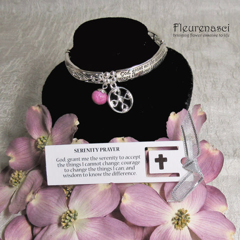 43BR-IS-DG Flower Petal Bead Inspirational Serenity Prayer Bracelet w/Bookmark