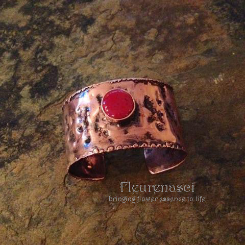 5RBR-C Rustic Cuff Bracelet with Flower Petal Inlay ~ Custom Order ~ Order Form Required