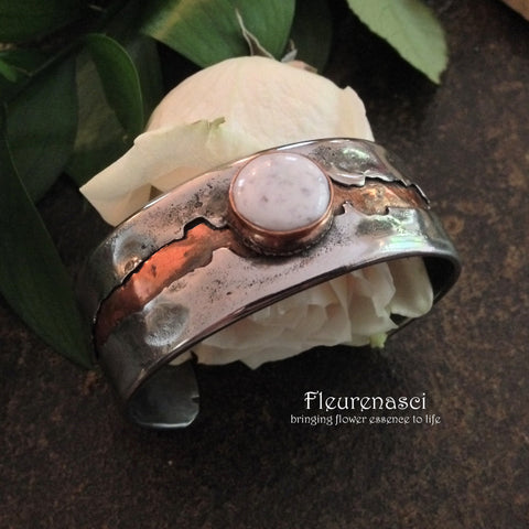 4RBR-S-IS Rustic Cuff Bracelet with Flower Petal Inlay