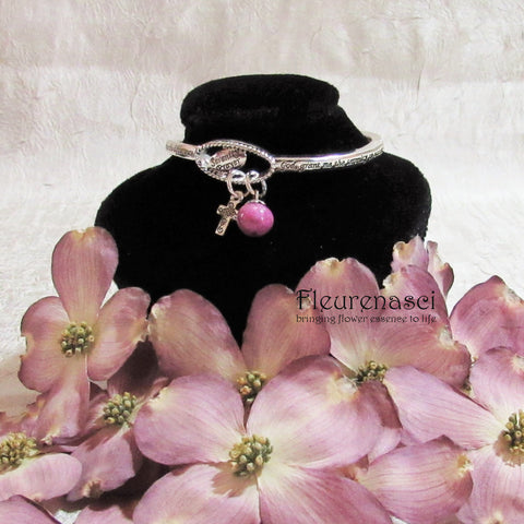44BR Flower Petal Bead Inspirational Serenity Prayer Bracelet w/Silver Cross Charm