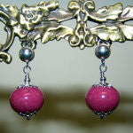 1ER-IS-PR Sterling Silver Earrings with One Flower Petal Bead