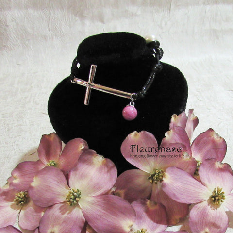 45BR-IS-DG Flower Petal Bead Inspirational Black Leather Bracelet w/Silver Cross