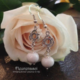 8ER-IS-H3WR Flower Petal Earrings with Sterling Silver Embellishment ~ In Stock Item