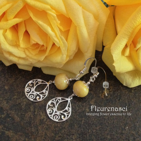8ER-H4B Flower Petal Earrings with Sterling Silver Embellishment ~ Custom Order ~ Order Form Required