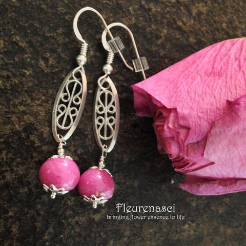8ER-IS-H2PR Flower Petal Earrings with Sterling Silver Embellishment ~ In Stock Item