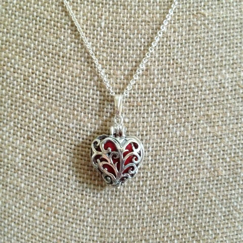 31N Flower Petal Bead Sterling Silver Heart Cage Pendant ~ Custom Order ~ Order Form Required