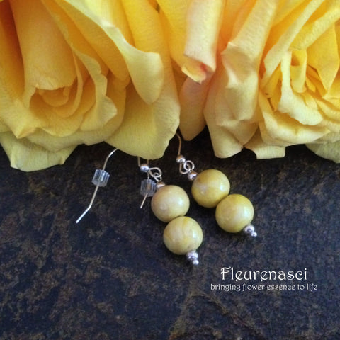 9ER-IS-YD Sterling Silver Earrings with Two Flower Petal Beads ~ In Stock Item