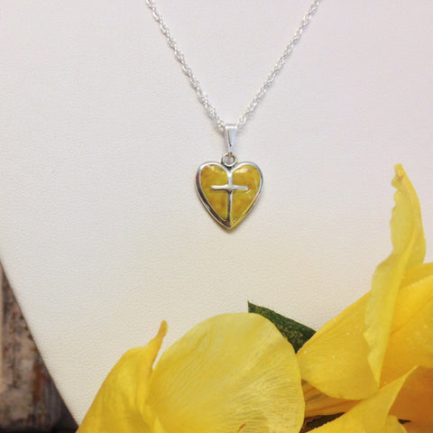 29N-IS-YG Flower Petal Bead Sterling Silver Heart with Cross ~ In Stock Item