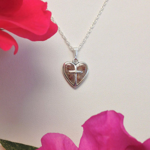 29N-IS-RT Flower Petal Bead Sterling Silver Heart with Cross ~ In Stock Item