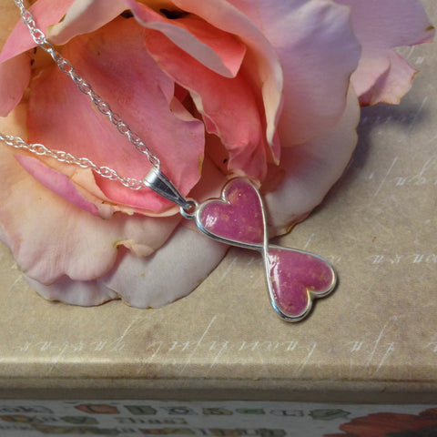 28N Flower Petal Bead Sterling Silver Double Heart Pendant ~ Custom Order ~ Order Form Required