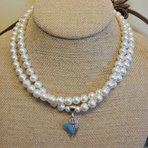 32N Flower Petal Bead Double Strand Pearl Necklace w/Angel Wing Pendant ~ Custom Order ~ Order Form Required