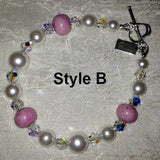 18BR Flower Petal Sterling Silver Bracelet w/Crystals & Pearls ~ Custom Order ~ Order Form Required