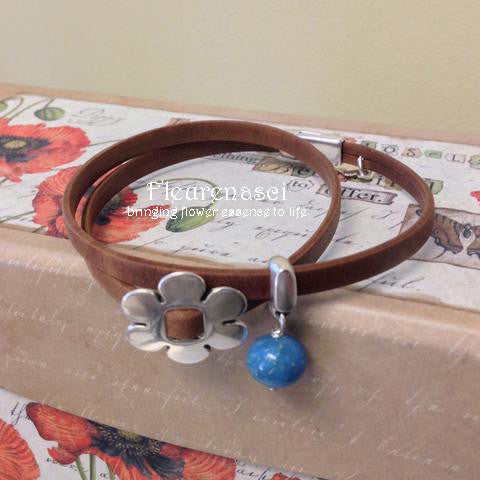 32BR-L3D Flower Bead Arizona Leather Wrap Bracelet with Flower Charm ~ Custom Order ~ Order Form Required