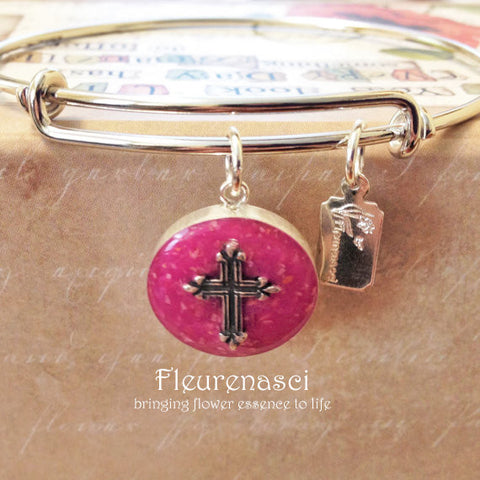 37BR-EC Adjustable Bangle Bracelet w/Sterling Silver Cross ~ Custom Order Item ~ Order Form Required
