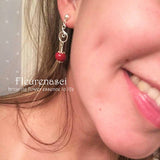 8ER-P Flower Petal Earrings with Sterling Silver Embellishment ~ Custom Order ~ Order Form Required