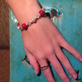 14BR Flower Petal Sterling Silver Bracelet w/Crystals & Pearls ~ Custom Order ~ Order Form Required