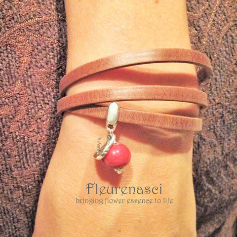 35BR-L1 Flower Bead Arizona Leather Wrap Bracelet with Believe Charm ~ Custom Order ~ Order Form Required