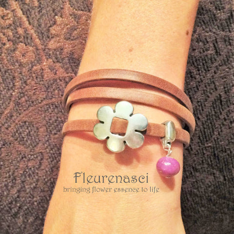 35BR-L2 Flower Bead Arizona Leather Wrap Bracelet with Flower Charm ~ Custom Order ~ Order Form Required