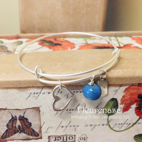 37BR-HC Matte Silver Adjustable Bangle Bracelet w/Heart Charm ~ Custom Order Item ~ Order Form Required