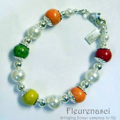 8BR-P Sterling Silver Bracelet with Five Flower Essence Beads ~ Custom Order ~ Order Form Required
