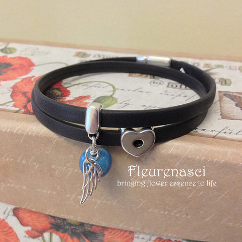 33BR-L1W Flower Bead Arizona Leather Bracelet with Believe Charm & Angel Wing ~ Custom Order ~ Order Form Required