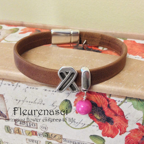 33BR-L1AC Flower Bead Arizona Leather Bracelet with Awareness Slide Charm ~ Custom Order ~ Order Form Required