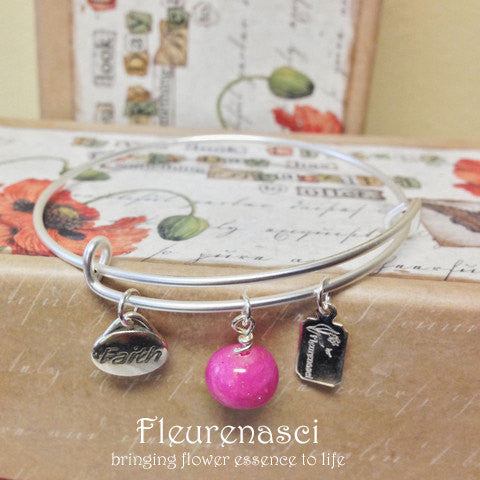 37BR-FC Matte Silver Adjustable Bangle Bracelet w/Faith Charm ~ Custom Order Item ~ Order Form Required