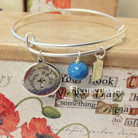 37BR-UC Matte Silver Adjustable Bangle Bracelet w/Inspirational Charm ~ Custom Order Item ~ Order Form Required