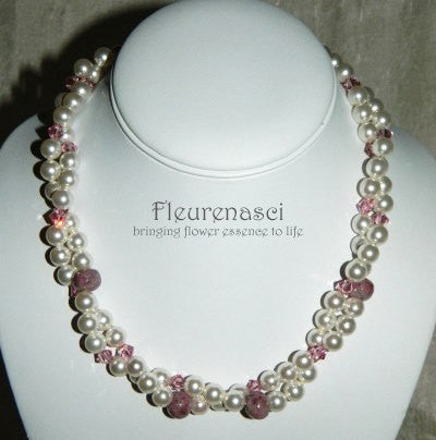19N Flower Petal Bead Double Strand Necklace with Swarovski Pearls ~ Custom Order ~ Order Form Required
