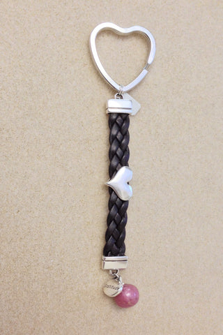 7HKC-HG Flower Bead Arizona Leather Braided Key Chain with Heart Charm ~ Custom Order ~ Order Form Required