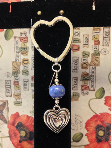 2HKC Heart Key Chain 1 Bead With Sterling Silver Heart Charm ~ Custom Order ~ Order Form Required