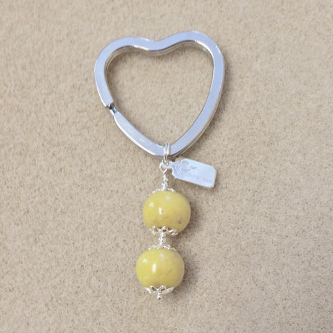 HKC3 Heart Key Chain with 2 Flower Beads ~ Custom Order ~ Order Form Required