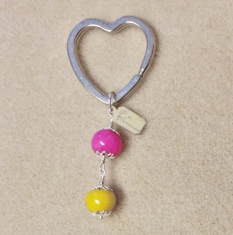 HKC3-1 Heart Key Chain with 2 Flower Beads ~ Custom Order ~ Order Form Required